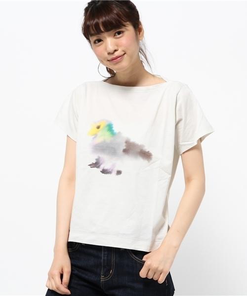 ロプヴァンミエルボートネックTシャツ/ハト