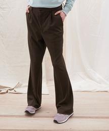 梨地ルーズリラックスワンタックフレアスラックスパンツ /EMMA CLOTHES 2020AW (セットアップ対応)ダークブラウン