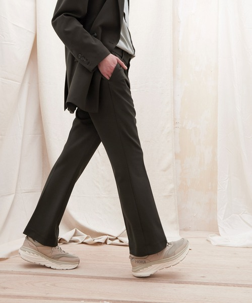 梨地ルーズリラックスワンタックフレアスラックスパンツ /EMMA CLOTHES (セットアップ対応)