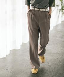 梨地ルーズリラックスワンタックフレアスラックスパンツ /EMMA CLOTHES 2020AW (セットアップ対応)ベージュ系その他