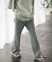 梨地ルーズリラックスワンタックフレアスラックスパンツ /EMMA CLOTHES 2020AW (セットアップ対応)グリーン系その他