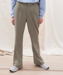 梨地ルーズリラックスワンタックフレアスラックスパンツ /EMMA CLOTHES 2020AW (セットアップ対応)グレイッシュベージュ