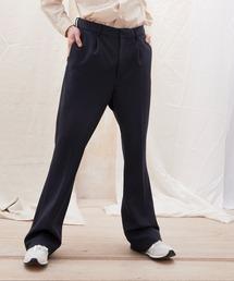梨地ルーズリラックスワンタックフレアスラックスパンツ /EMMA CLOTHES 2020AW (セットアップ対応)ダークネイビー