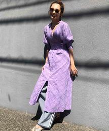 AMERI(アメリ)のMEDI CRUMPLE COTTON LACE DRESS(ワンピース)