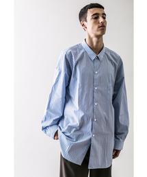 <monkey time> BLUE STRIPE PANEL OVER SIZED REG/シャツ