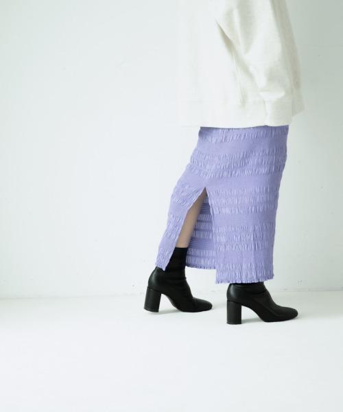 yuw(ユウ)の「シャーリングタイトスカート2 921055(スカート)」|パープル