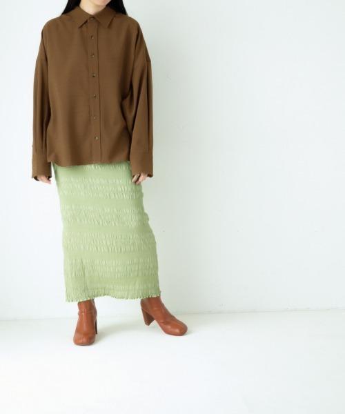 yuw(ユウ)の「シャーリングタイトスカート2 921055(スカート)」|詳細画像
