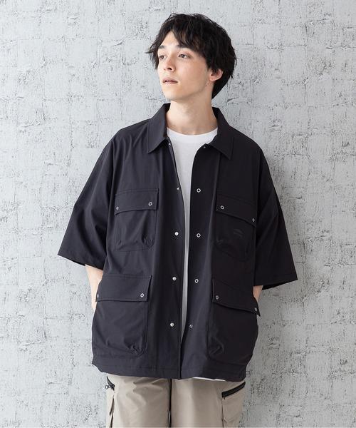 「着るBAG」シリーズ 7ポケットシャツ リングドットボタン 撥水 ストレッチ 抗UV ビッグシルエット