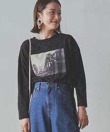 トラベルフォトプリントロングスリーブTシャツ