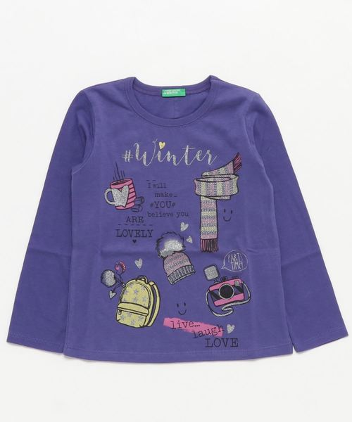 KIDSウィンターガールプリント長袖Tシャツ・カットソー