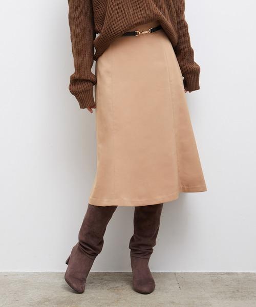 ROPE' PICNIC(ロペピクニック)の「ビットベルト付きフレアスカート(スカート)」|ベージュ