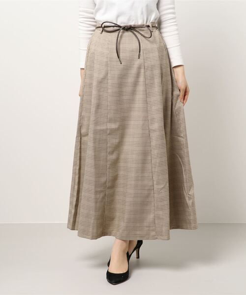 ベルト付き柄マーメイドスカート