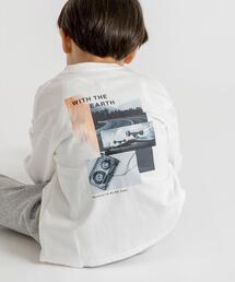【coen キッズ】フォトアートプリント7分袖Tシャツ