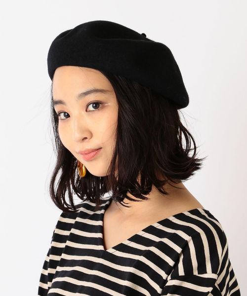 SHIPS(シップス)の「ウールベレー帽◇(ハンチング/ベレー帽)」|ブラック