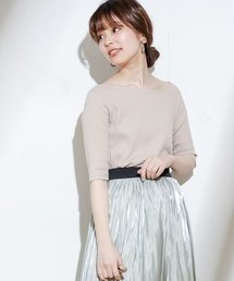 natural couture(ナチュラルクチュール)のワンショル風リブTシャツ(Tシャツ/カットソー)
