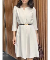 TONAL(トーナル)のスキッパーフレア7分袖ドレス(ワンピース)