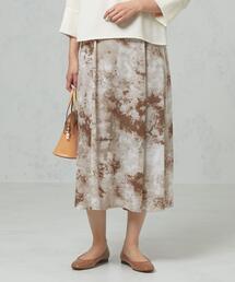 <closet story>□マーブルプリント ロングスカート -手洗い可能-