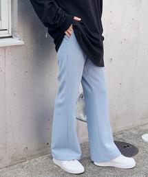 センタープレスカラーフレアスラックスパンツ/レディース/ユニセックスグレイッシュブルー