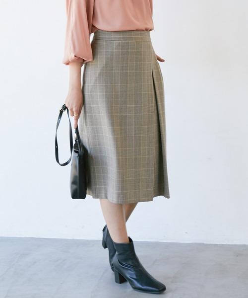 ViS(ビス)の「【EASY CARE】ウォッシャブルフラノタイトスカート(スカート)」|ベージュ系その他
