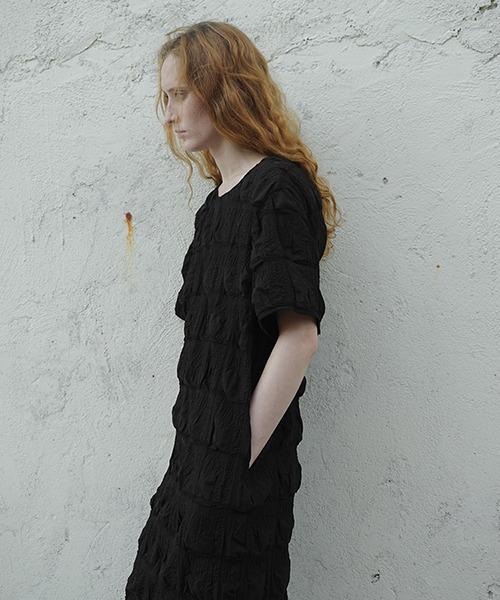 【LeonoraYang】3D wrinkle mid length dress chw1572