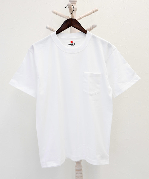 【Hanes/ヘインズ】ビーフィー クルーネック半袖ポケットTシャツ