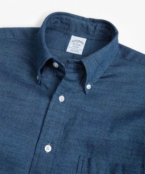 コットン インディゴ ロイヤルオックスフォード ボタンダウンシャツ Regent Fit