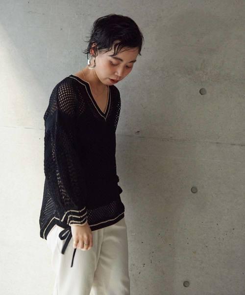 C/Ny透かし編み クルー プルオーバー