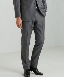 [グアベロ] GUABELLO チョークストライプ スリム ノープリーツ スラックス スーツパンツ<日本製>
