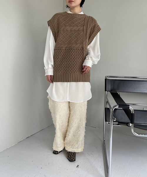 【SANSeLF】patchwork cable knit vest sanwz9
