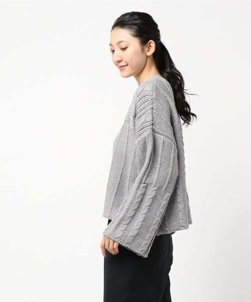 ワイドスリーブケーブル編みゆったりニットトップス*レディース/長袖/セーター[C3568]神戸レタス