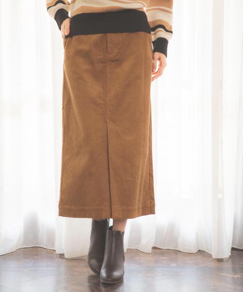 GLOBAL WORK(グローバルワーク)の「コーデュロイタイトスカート/845154(スカート)」 ベージュ