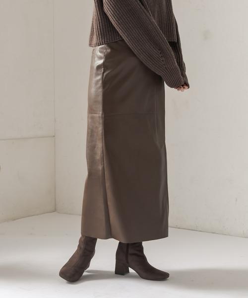CAPRICIEUX LE'MAGE(カプリシューレマージュ)の「レザーラップ風スカート(スカート)」 ブラウン