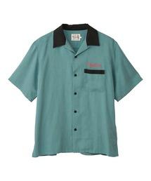 BAD LUCK刺繍 ボーリングシャツグリーン