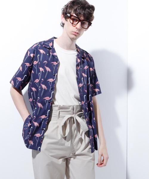 フラミンゴ柄 オープンカラー半袖シャツ