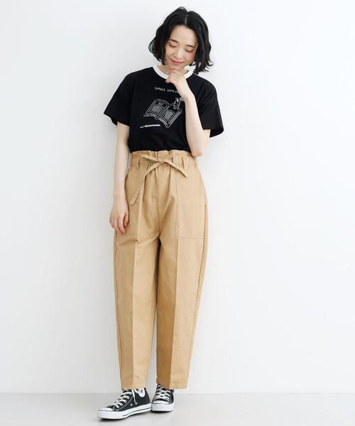 <鬼頭祈さんコラボ>SUMMER HOME WORK柄リンガーTシャツ1641