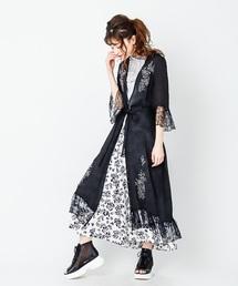 裾刺繍ロングガウン(カーディガン)