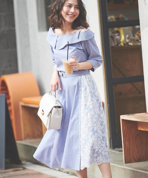 Noela(ノエラ)の「レースMIXアシメスカート(スカート)」|ブルー