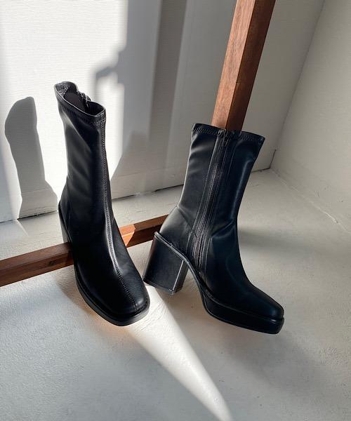 【chuclla】【2020/AW】Volume heel half boots chs88