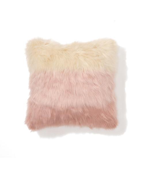 Francfranc(フランフラン)の「ファー クッションカバー 450×450 ピンク (H-013)(クッション/クッションカバー)」|ピンク