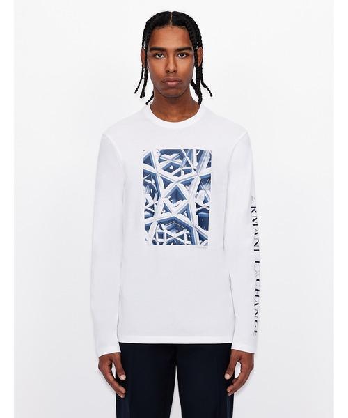 【A|Xアルマーニ エクスチェンジ】グラフィックロゴデザイン 長袖クルーネックTシャツ/REGULAR