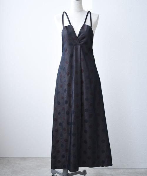 シャンブレードットキャミドレス