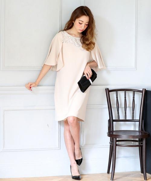 DRESS LAB(ドレスラボ)の「レース チューリップ袖 ワンピース ドレス 結婚式 フォーマル パーティードレス(ドレス)」|ナチュラル