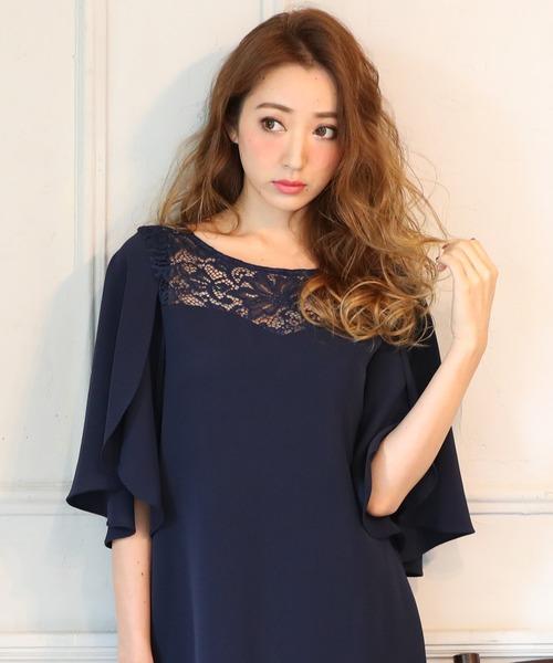 DRESS LAB(ドレスラボ)の「レース チューリップ袖 ワンピース ドレス 結婚式 フォーマル パーティードレス(ドレス)」|ネイビー