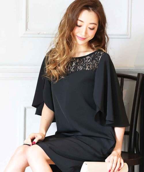 DRESS LAB(ドレスラボ)の「レース チューリップ袖 ワンピース ドレス 結婚式 フォーマル パーティードレス(ドレス)」|ブラック