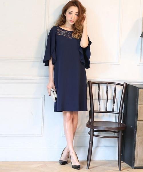 DRESS LAB(ドレスラボ)の「レース チューリップ袖 ワンピース ドレス 結婚式 フォーマル パーティードレス(ドレス)」|詳細画像