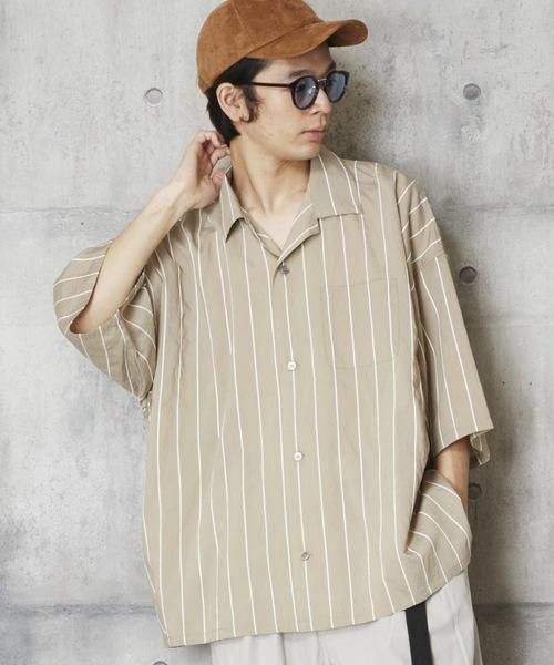 開衿ストライプシャツ ベーシックオープンカラーシャツ ストライプシャツ