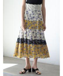 LAGUNAMOON(ラグナムーン)のブロックカラーフラワースカート(スカート)