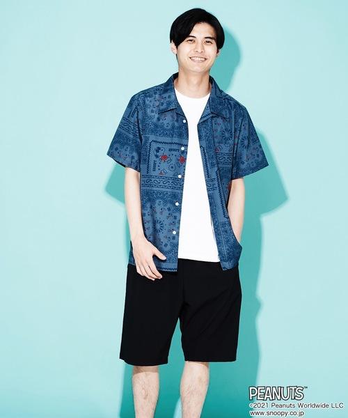【PEANUTS/ピーナッツ】総柄開襟(オープンカラー)半袖シャツ