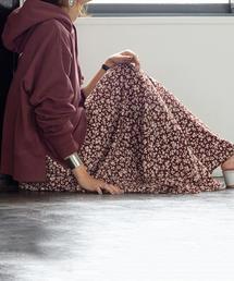coen(コーエン)の【新色:ネイビー登場】プリントタックロングスカート(スカート)