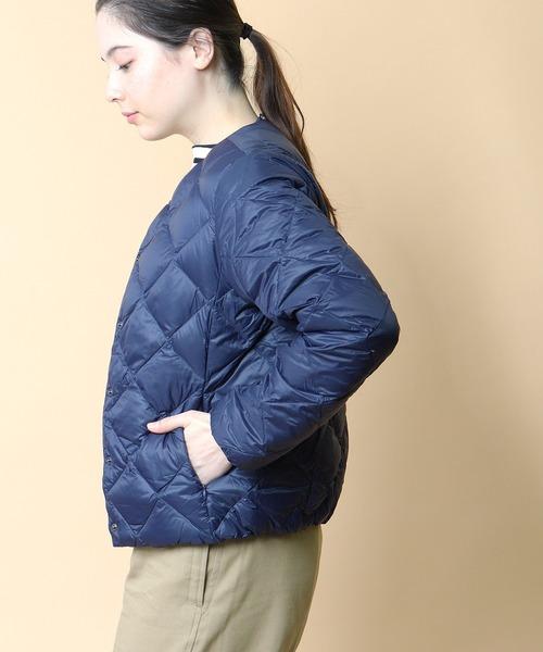 【 TAION / タイオン 】CITY LINE CREW NECK DOWN JKT クルーネックダウンジャケット TAION-W104BCI‥